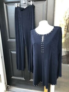New-2-pc-Chico-039-s-Travelers-Navy-Blue-India-Ink-Tunic-Top-No-Tummy-Pant-3-XL-NWT