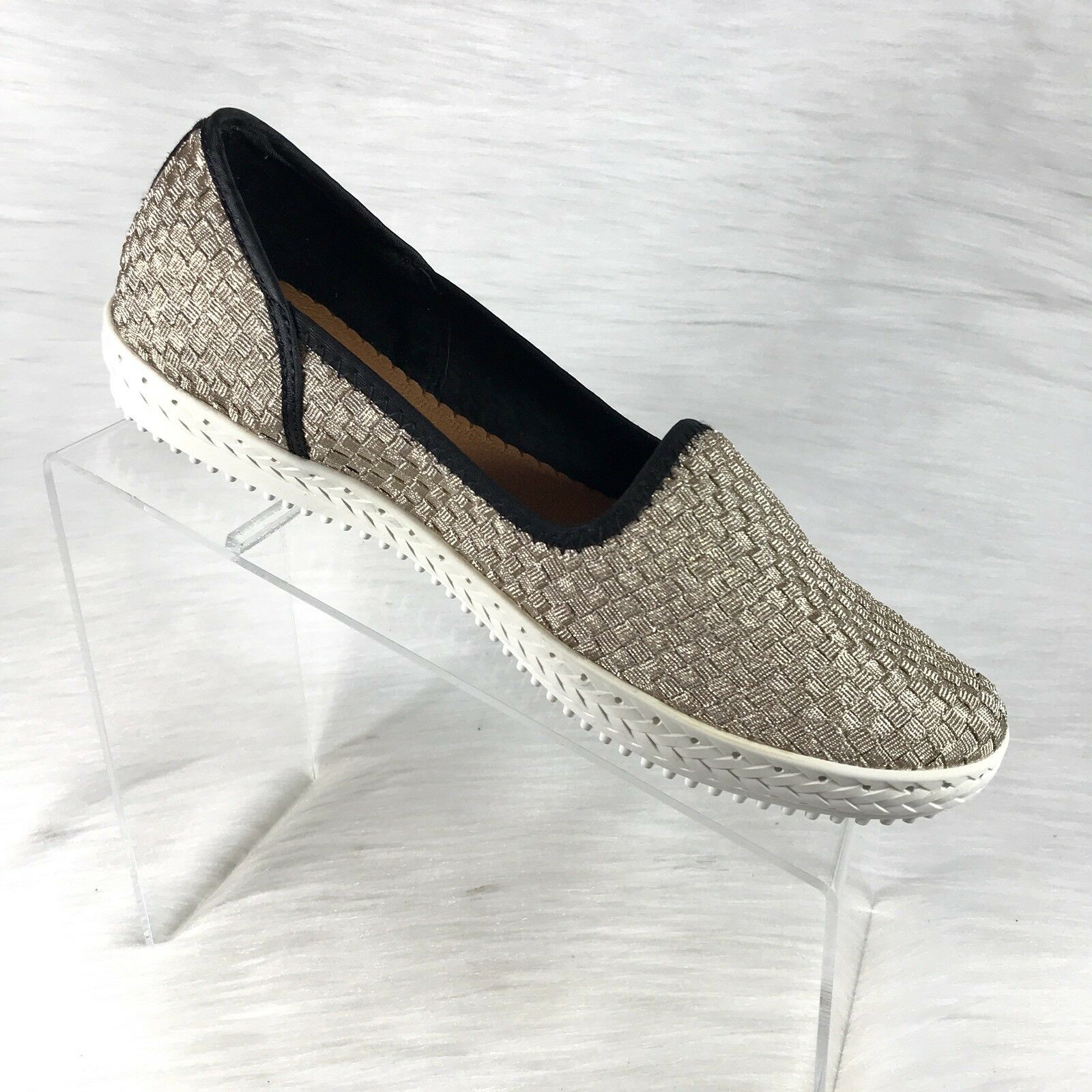 New Bernie Mev Women's Easy Ballet Flats Light gold Woven Size 41 US 10.5