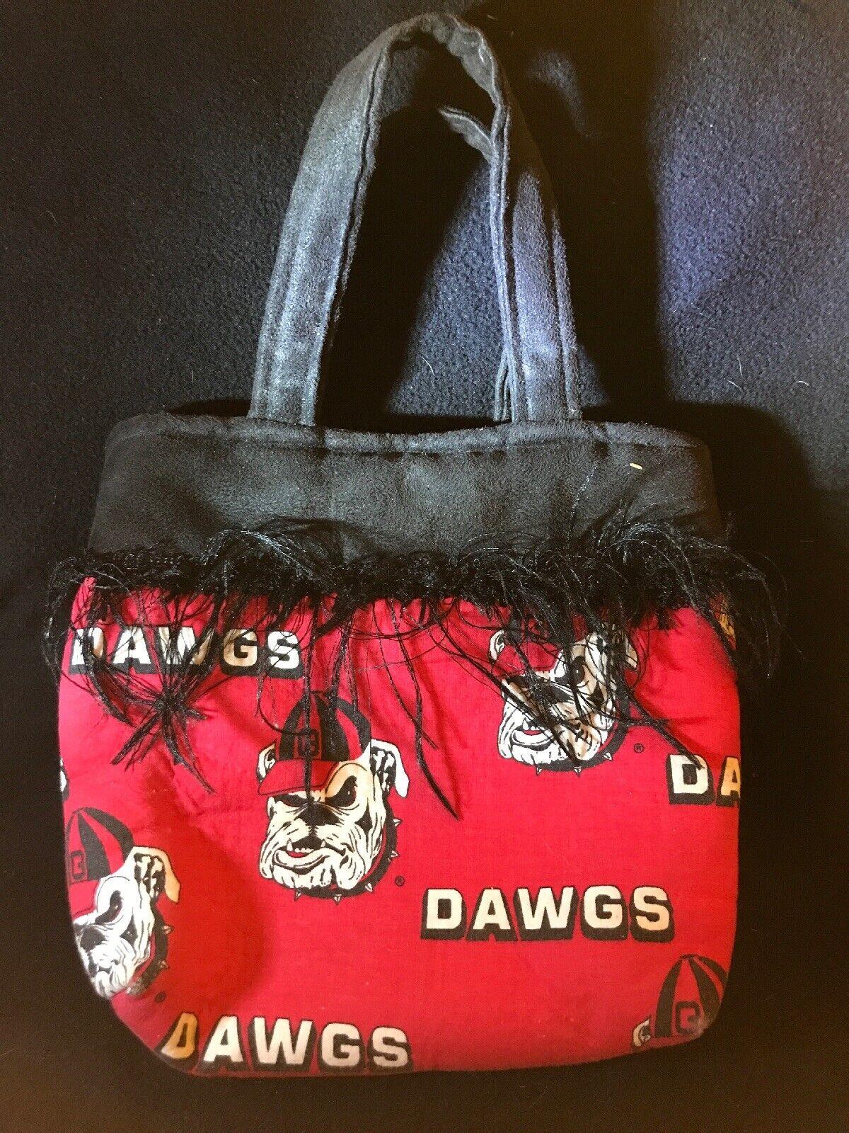 Georgia Bulldogs Purse Cloth With Fringe Snap Top