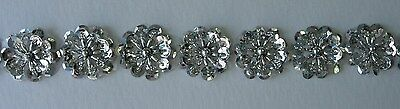 BN14 Silver Sequin Bead Flower Applique Banding Sew x10