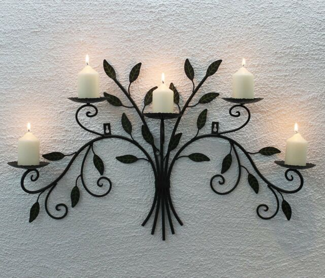 Wall Mounted Candle Holder 12119 From Metal Wrought Iron 70cm Candlesticks