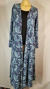 Lularoe Sarah Paisley Blue Tunic Knit Duster Womens Size S Long Sleeve Open new$