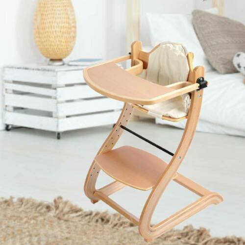 Folding Wood Baby Highchair Infant High Feeding Seat Tray Toddler Table Chair