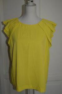 Maglia-top-ZARA-giallo-verde-green-yellow-tee-shirt-top-M-L