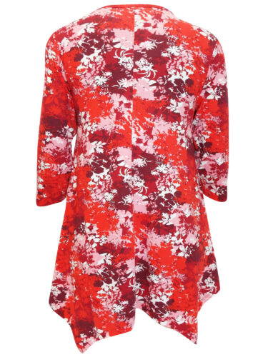 NEW-IVANS RED FOLIAGE PRINT PLUS SIZE TUNIC TOP-SIZES 16 18 20 22//24 26//28 30//32