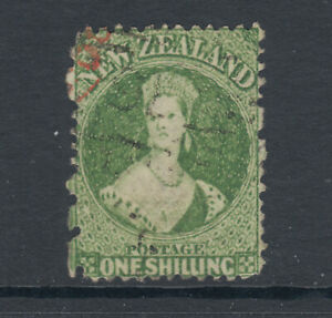 New-Zealand-Sc-37-SG-125-used-1864-72-1sh-yellow-green-QV-fresh-sound-Cert