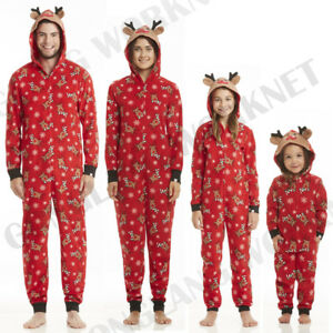 a2d5e4094663 Image is loading Christmas-Family-Matching-Zip-Pajamas-Adult-Women-Kids-