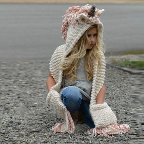 US Adult Kid Unicorn Hooded Scarf Animal Hoodie Cowl Crochet Knitted Beanie Hat