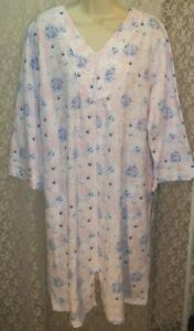X-Large-XL-Miss-Elaine-Cotton-Blend-Zip-Front-Robe-Long-Sleeve-Pink-Blue-White