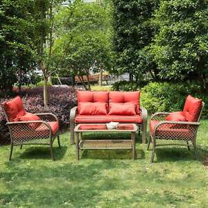 All Weather Outdoor Patio Chairs With Cushions Pe Rattan Furniture