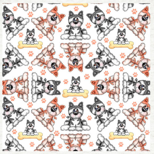 Husky Dog Abstract Pattern Fabric Quilting SewingCraft Panel