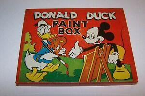 Walt-Disney-039-s-Donald-Duck-Paint-Box-1948-Transogram-Vintage-Unused