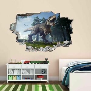 Jurassic-Dinosaur-Jungle-3D-Wall-Sticker-Mural-Decal-Kids-Room-Home-Nursery-BH22