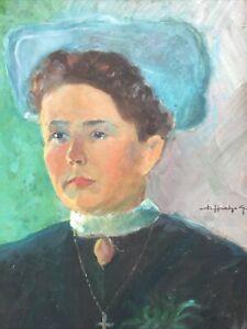 Portrait-De-Femme-Dessins-Huile-Signee