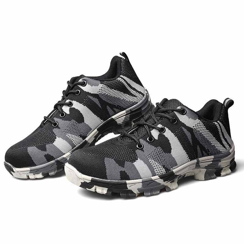 Men's Camouflage Casual Hiking Sneakers Steel Toe Outdoor Safety Work shoes New
