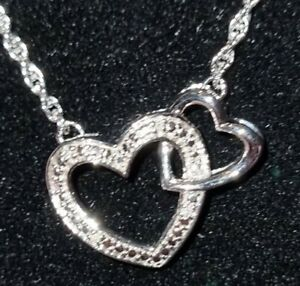 Sterling Silver Diamond Double Heart Pendant RRP £129 H SAMUEL *BRAND NEW*