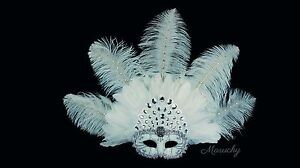 Led Mardi Gras String Lights : White and Silver Masquerade Mask with Feathers and LED Lights. Mardi Gras Women eBay