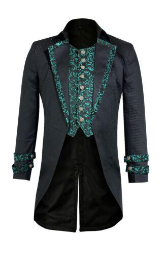 Cotton  Mens Gothic Morning Jacket Tailcoat Black Steampunk Victorian Wedding01
