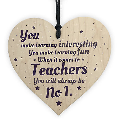 No1 Thank You Teacher Gifts Heart Leaving Nursery School Teaching Assistant Sign 5060585005383 Ebay
