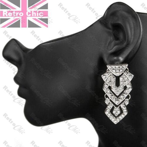 "BIG CRYSTAL rhinestone AZTEC CHANDELIER EARRINGS vintage style 80s RETRO 2/""long"