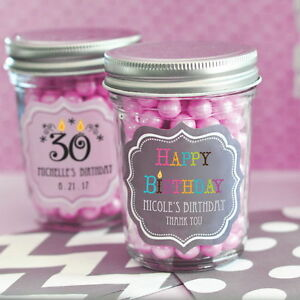 24 8oz Mason Jars Personalized Birthday Party Favors Lot Q46592