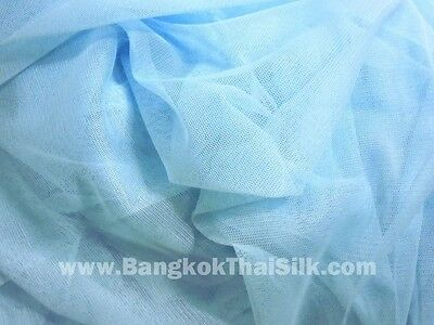 "BABY BLUE SOFT NET TULLE STRETCH FABRIC 60""W Camisole Bridal Dance Wear"