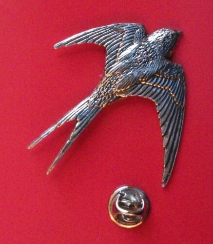 Large Swallow Bird Pin Badge English Silver Pewter Brooch in gift pouch