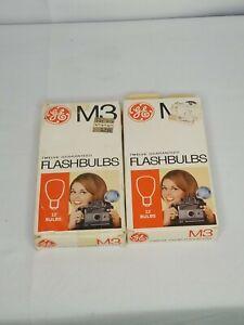 Vintage GE M3 Twelve (Box of 12 and 10 NEW) Clear Flashbulbs Camera Flash Bulbs