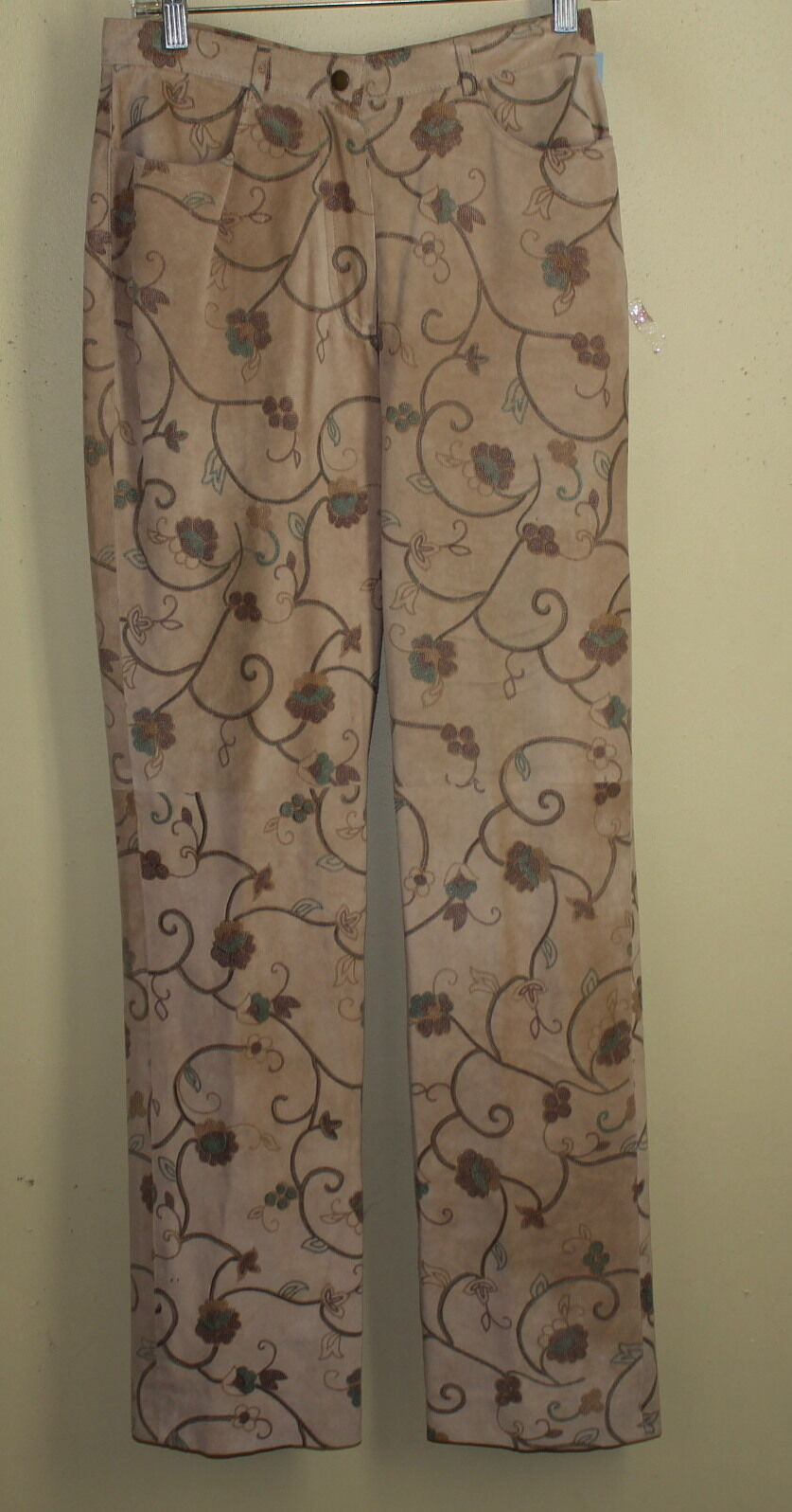 CARLISLE Tan Fabulously Printed Floral Art-to-Wear 100% Suede Leather Pants Sz 6