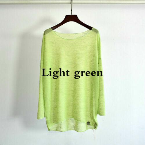 Femmes Tricoté T-Shirt Haut Chemisier en Vrac Manches Longues Transparent