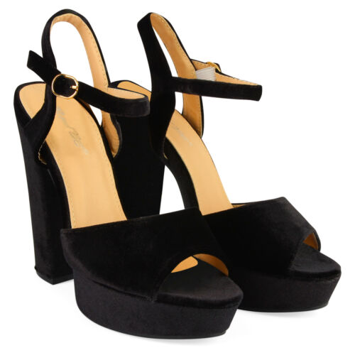 Womens Ankle Strap Platform Ladies Chunky Sole Block Heel Sandals Shoes Size 4