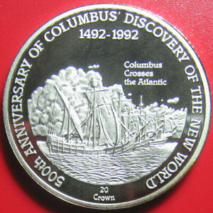 1989-TURKS-CAICOS-20-CROWNS-SILVER-PROOF-COLUMBUS-SHIPS-CROSSING-THE-ATLANTIC