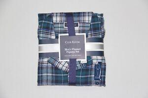 New Club Room Men s Small Teal Plaid Sleepwear Flannel Pajama Set  3a1d90622
