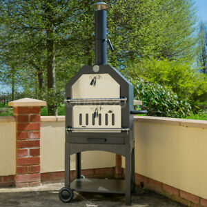 Image Is Loading Outdoor Pizza Oven Steel Bbq Smoker Charcoal Wood