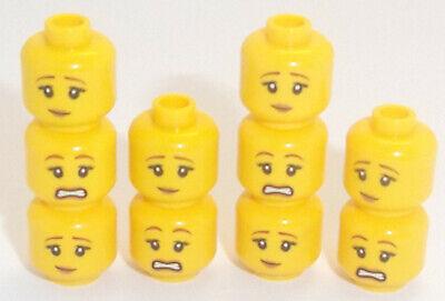 Lego jaune tête X 10 Double Sided femelle avec Smile /& Visage Triste pour figurine