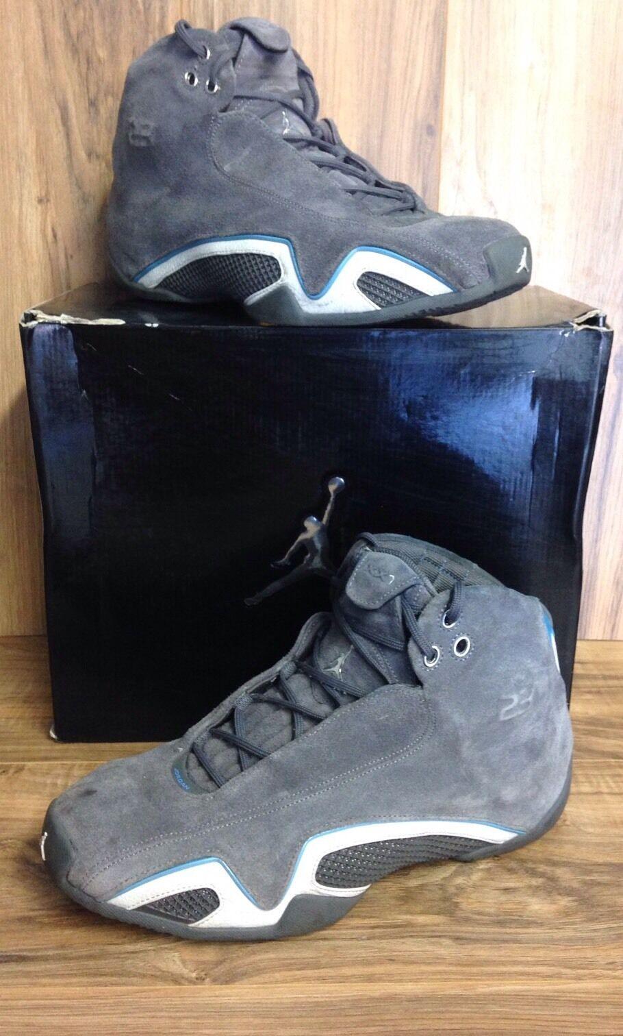 Raro nike air jordan xxi 21 grafite grigio argento univ 313495-002 blu