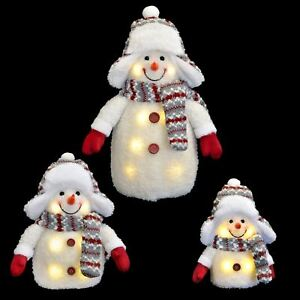 Novelty Light Up Snowman Decoration Fluffy With Winter Trapper Hat 33/20/15cm