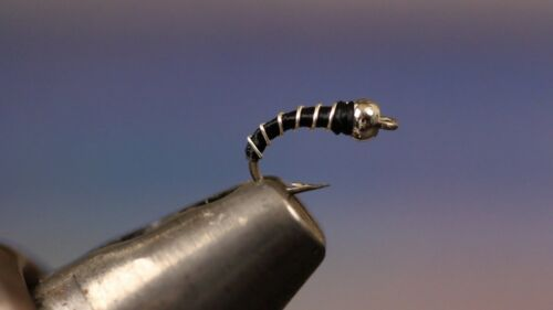 HOT ITEM Zebra Midge BLACK Fishing Flies- Per 6 - Size; #18 Gold bead