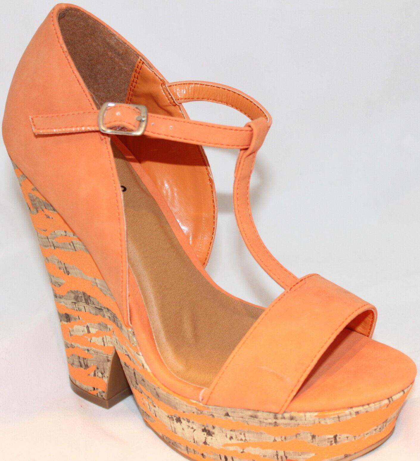 Qupid Chunky Orange Heels Platform Wedge Sandals Orange Chunky T-strap Open Toes Women's Shoes 8ec400