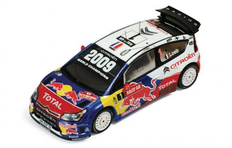 1 43 CITROEN C4 WRC total rouge Bull Winner Wales Rally GB 2009 S. Loeb D. Elena