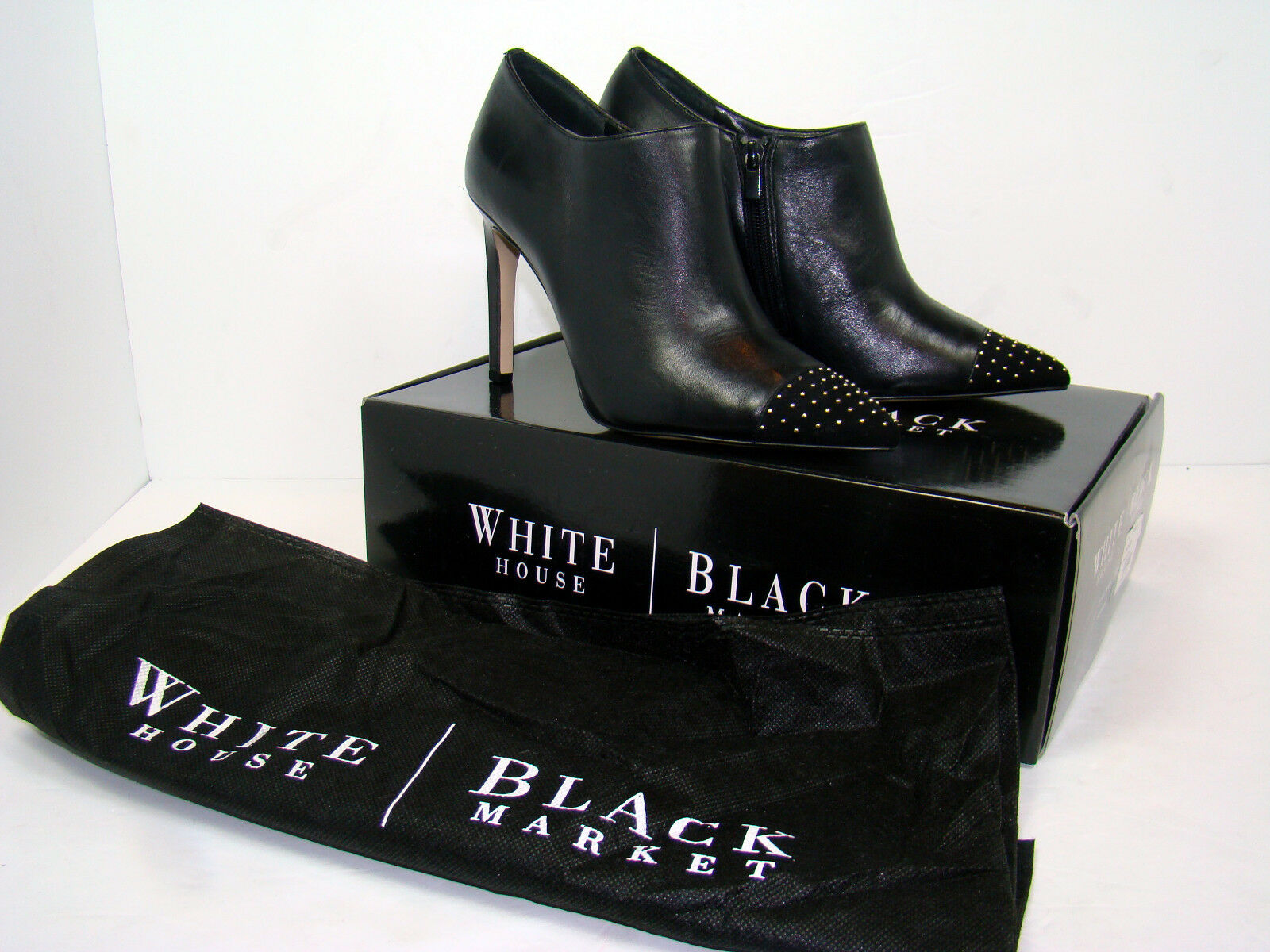 NWB NEW White White White House Black Market WHBM Klaudia Boots Heels Studded Size 8  170 cca9c1