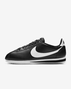 9d166ca647391 New Nike Women's Classic Cortez Leather Shoes (807471-010) Black ...