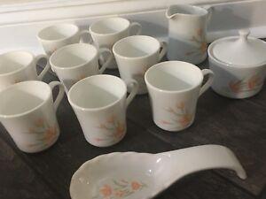 Corning Ware Corelle Coffee & Tea Set ~ Peach Flowers/Gray Leaves ...