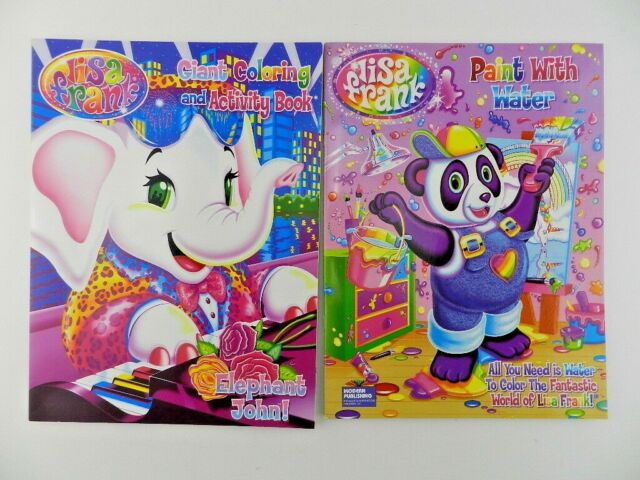 2 Lisa Frank Adult Coloring Book Elephant John Paint With Water Panda New  For Sale Online