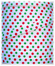 3/8 CHRISTMAS JUMBO DOTS RED GREEN GROSGRAIN RIBBON 4 HAIRBOW BOW  5YD