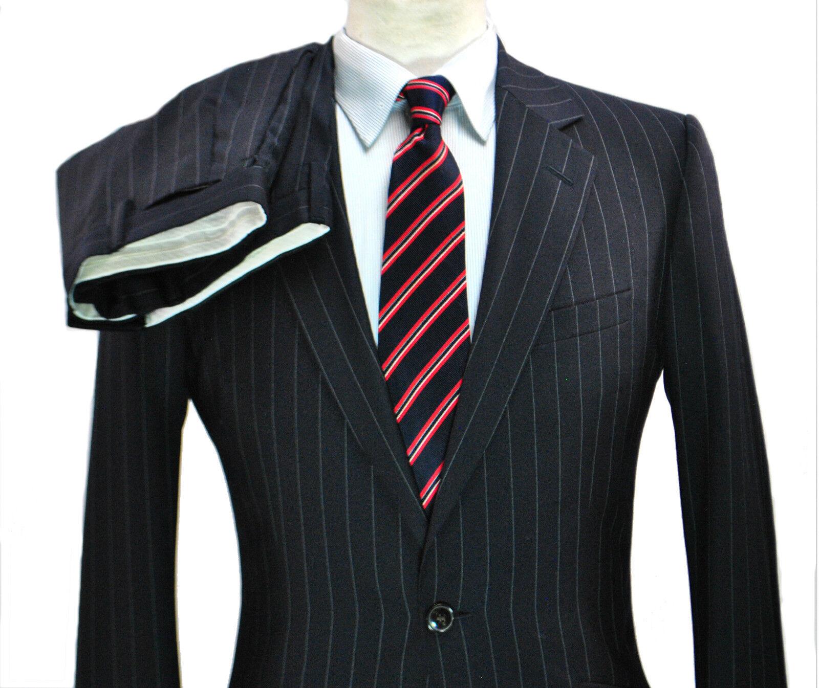 REISS Heston Navy Chalk Chalk Navy Stripe Suit Slim 36R 31x29 Small XS Worsted Wool blu ca9ed8