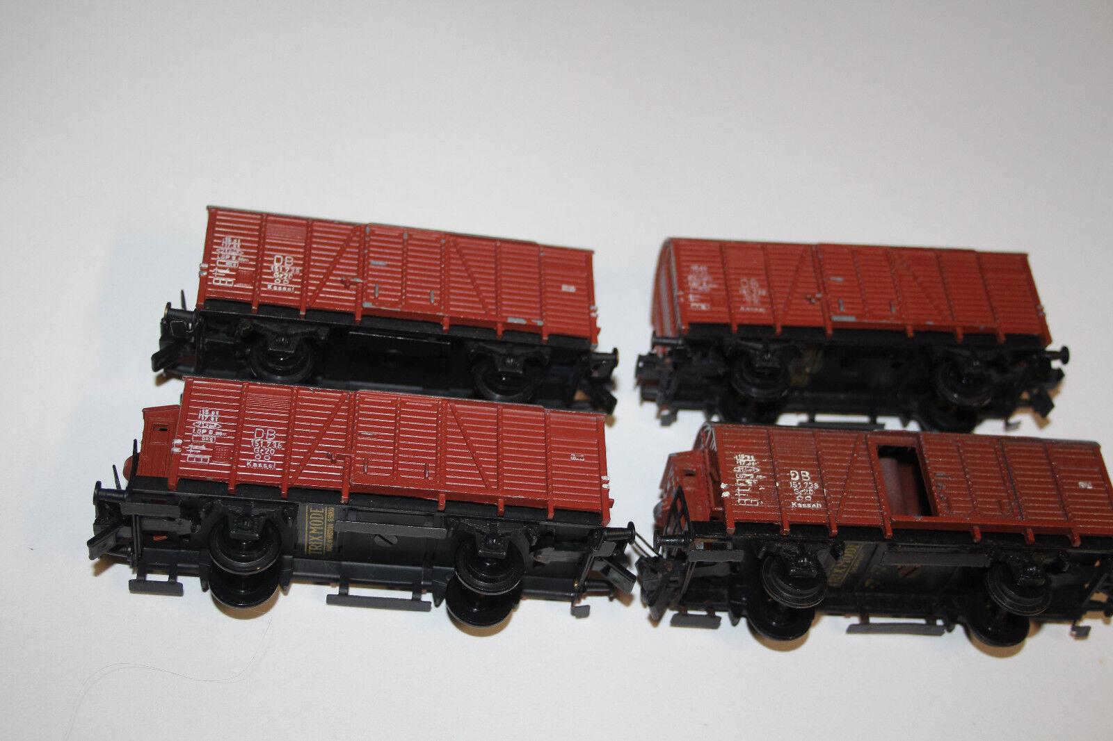 Trix Express h0 4x fundido vagones DB 151738 talla 20 marrón rojoonda cubierta (2092-060)
