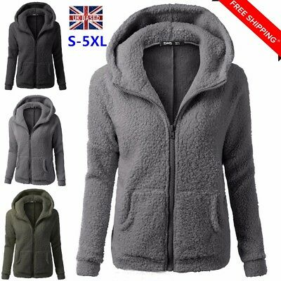 EntrüCkung Women's Ladies Fleece Coat Hoodie Overcoat Jacket Outwear Plus Size Uk 6-20 L8
