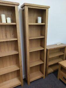 Baysdale Rustic Oak Tall Narrow Bookcase Tall Shelving Unit 170cm Tall Ebay