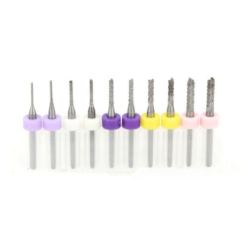 10x 1-3mm Carbide End Mill Set PCB Cutter 3.175mm Shank CNC Engraving Bit Stock